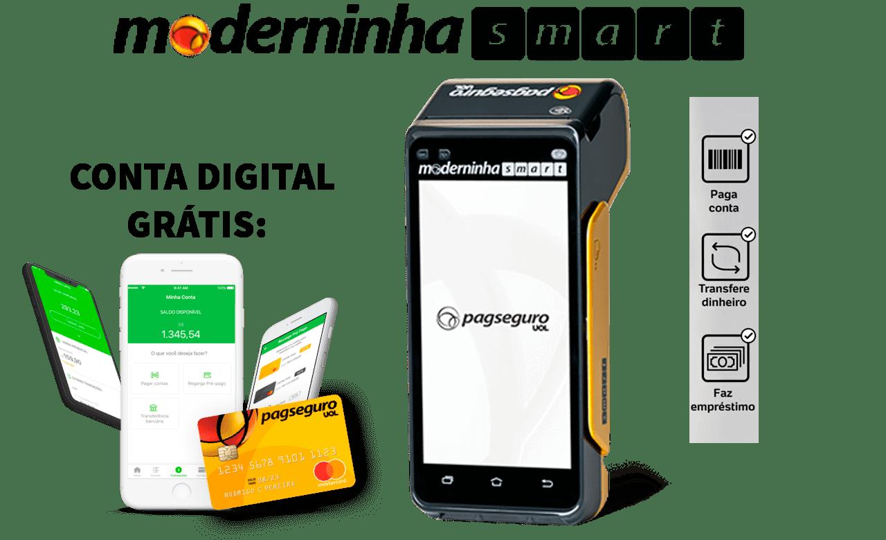 812a103d3 Moderninha Smart PagSeguro. Tem Chip 4G, WiFi, Comprovantes Em Papel ...
